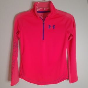 Under Armour Youth Girls 1/4 Zip Pullover Pink Large Polyester Heatgear